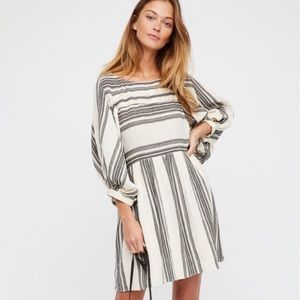Free People Cream and Grey Oversized Dress